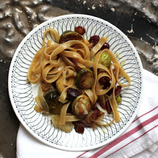 Fettuccine with Brussels Sprouts, Cranberries, and Caramelized Onion Recipe