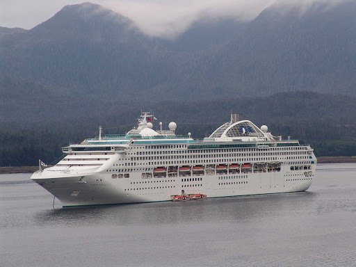 Dawn-Princess-Ketchikan-Alaska - Dawn Princess in Sitka Alaska, operating tenders (small ships to ferry passengers).
