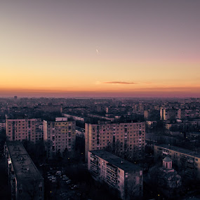 Twilight in Bucharest by Matei Edu - City,  Street & Park  Skylines ( skyline, ig_romania, sunset, colors, twilight, lines, romania, architecture, cityscape, planes,  )