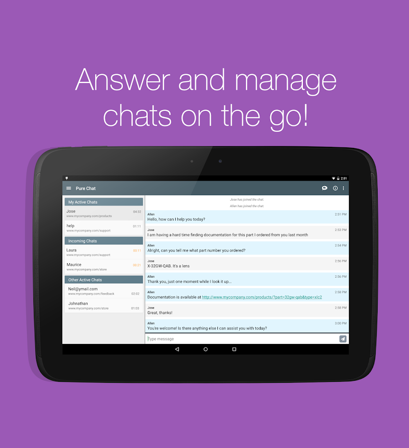 Pure Chat - Customer Live Chat - screenshot