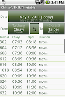 Screenshot of Chinsoft THSR Timetable