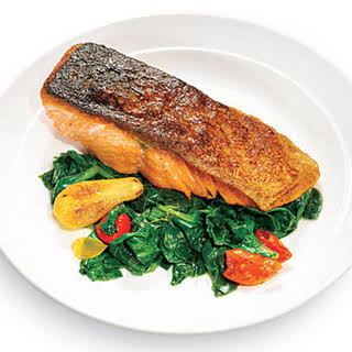 Seared Salmon with Wilted Spinach.