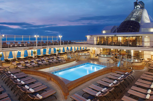 Silver_Spirit_Pool_Deck - The alluring Pool Deck of Silver Spirit. The pool is refreshing in warmer climates and is heated in cooler ones.