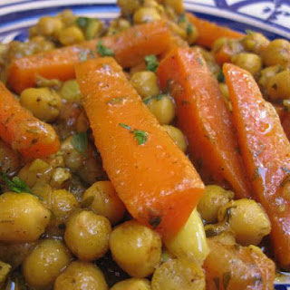 Moroccan Vegetarian Carrot and Chickpea Tagine.