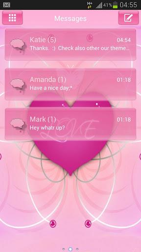 GO SMS Pro ThemeのテーマはロマンチックなGO