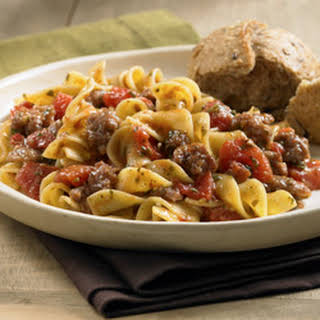Sausage, Tomato and Noodle Toss.
