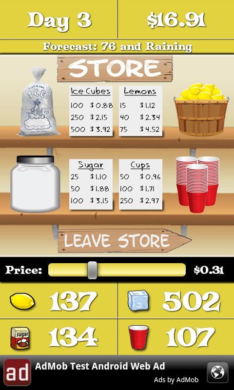 Lemonade Stand- screenshot