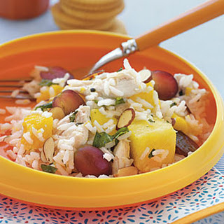 Chicken, Rice, and Tropical Fruit Salad.