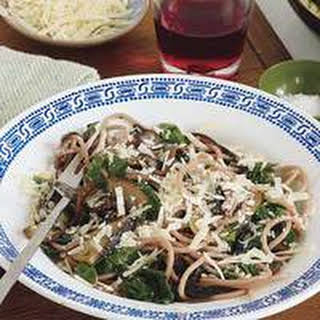 Spiked Spaghetti with Portobellos and Kale.