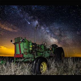 Farming The Rift II by Aaron Groen - Landscapes Starscapes ( dark rift, great rift, milkywaystars, farming the rift, meteor, shooting star, fire balls, south dakota, meteor.shooting star, tractor, milky way )