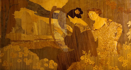 Marquetry panel: Two girls sitting beside the lake
