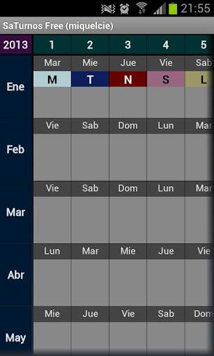 SaTurnos無料 カレンダー