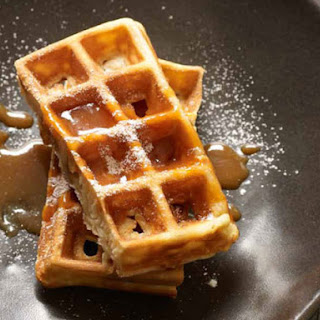 Crispy Waffles with Salted Caramel Coulis