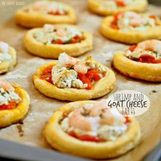 Shrimp and Goat Cheese Tarts.