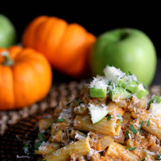 Pumpkin Pasta with Sausage and Apples.