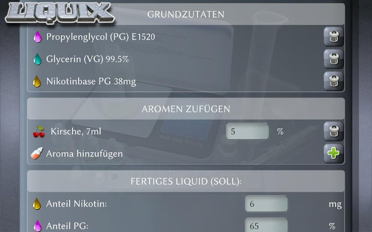android LIQUIX Liquidrechner & Manager Screenshot 14
