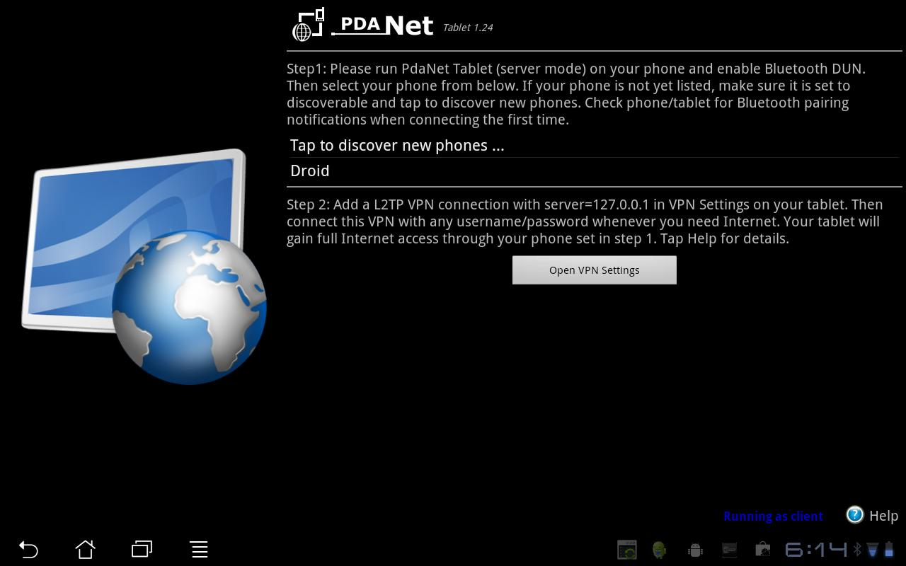 PdaNet Tablet- screenshot