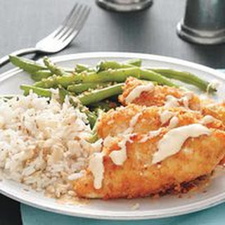 Crunchy Chicken with Sesame Rice and Green Beans.