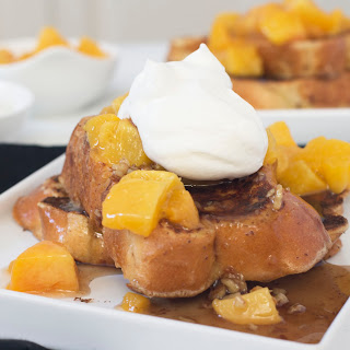 Roasted Peaches n Cream French Toast with Toasted Pecan Maple Syrup