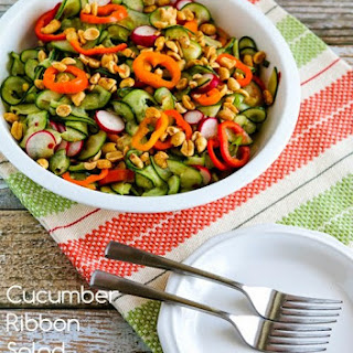 Cucumber Ribbon Salad with Peppers, Radishes, and Thai Dressing.