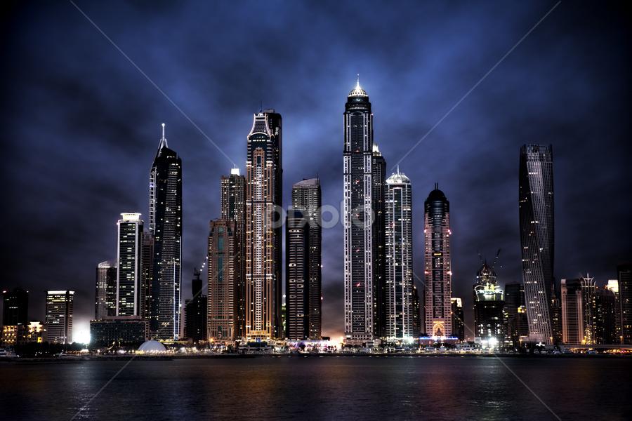Marina Night Skyline by Paul Jacob Bashour - Buildings & Architecture Office Buildings & Hotels ( water, skyline, dubai, night, marina, united arab emirates, Urban, City, Lifestyle )