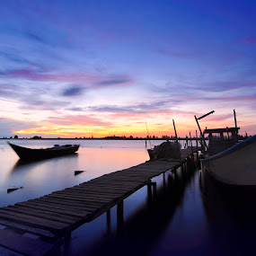 Dusk by Naising Bega - Transportation Boats