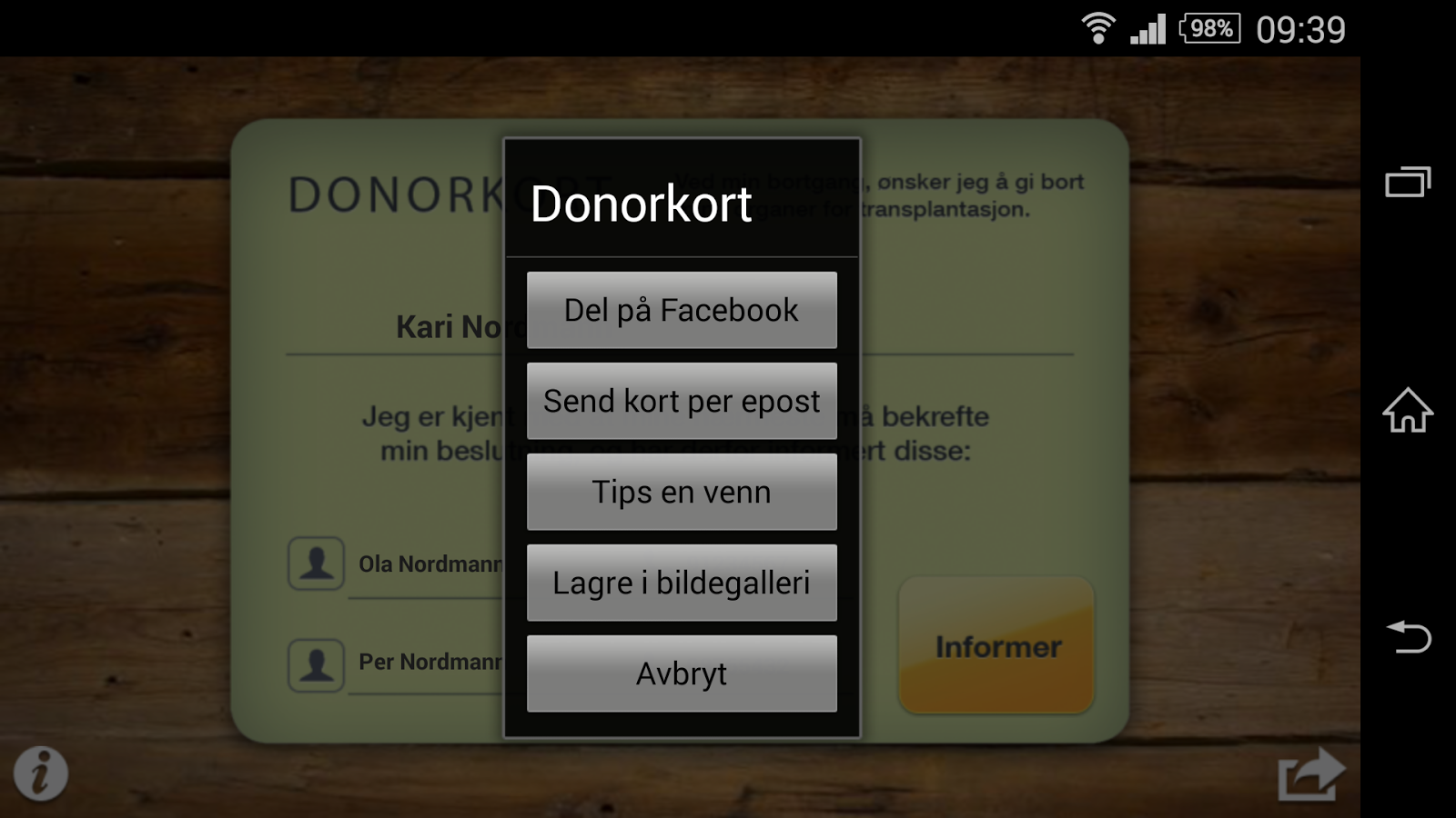 Donorkort - screenshot