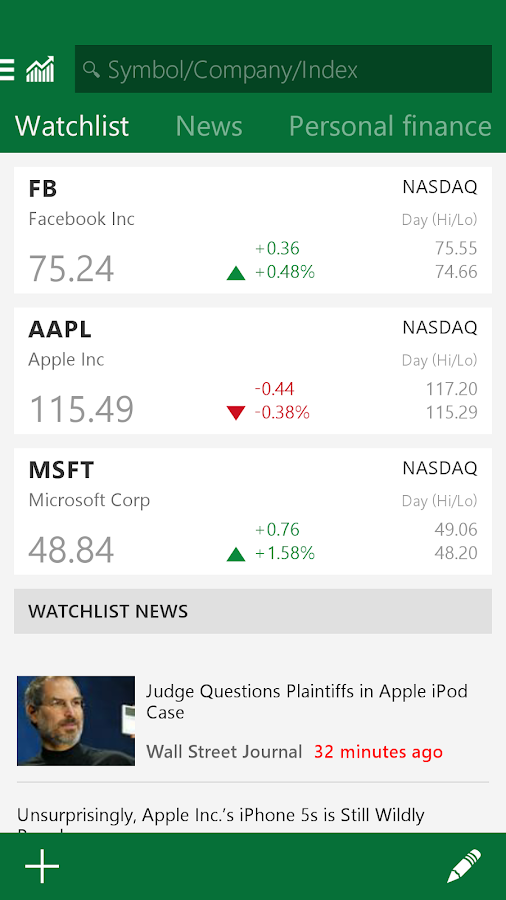 MSN Money- Stock Quotes & News- screenshot