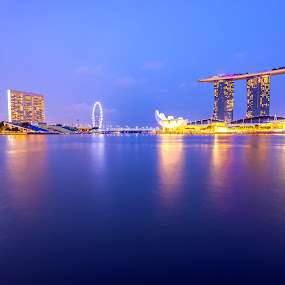 Blue hours by Jijo George - Buildings & Architecture Public & Historical ( skyline, singapore city, singapore, marina bay, city, serenity, blue, mood, factory, charity, autism, light, awareness, lighting, bulbs, LIUB, april 2nd )