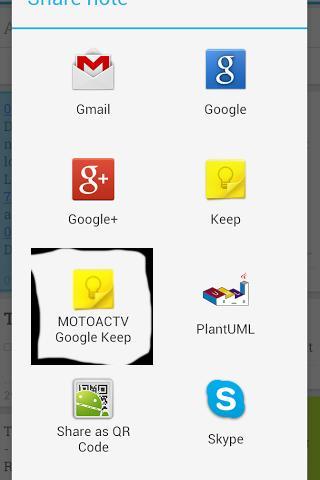 MOTOACTV Google Keep Plugin
