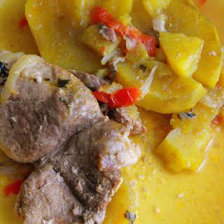 Steaks in Saucepan with Sweet Potato.