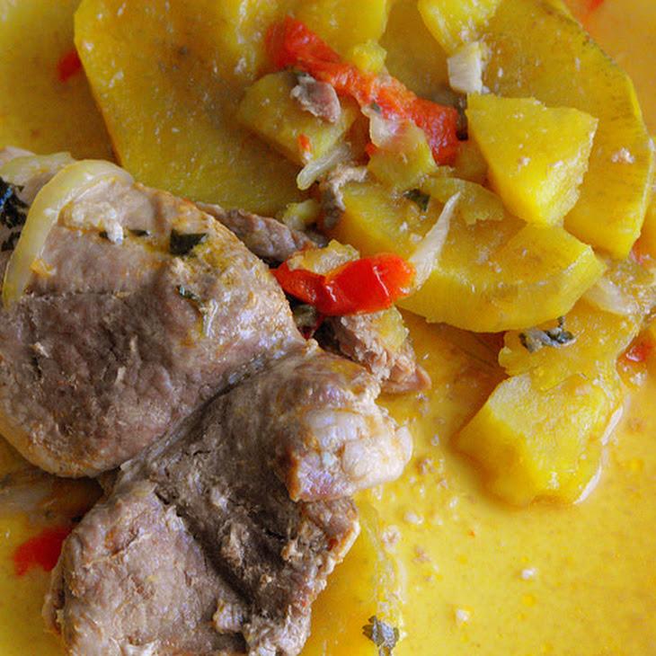 Steaks in Saucepan with Sweet Potato
