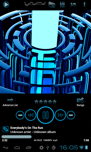 Poweramp skin TRON BLUE