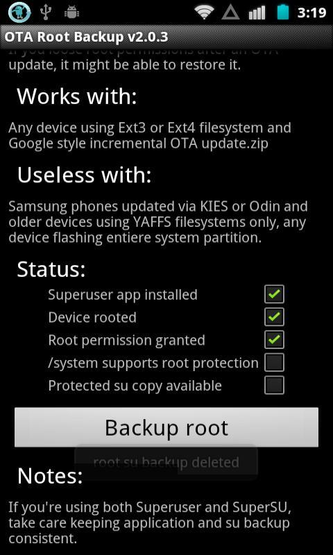 OTA Root Backup - screenshot