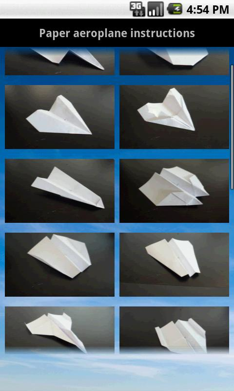 Paper aeroplane instructions - screenshot