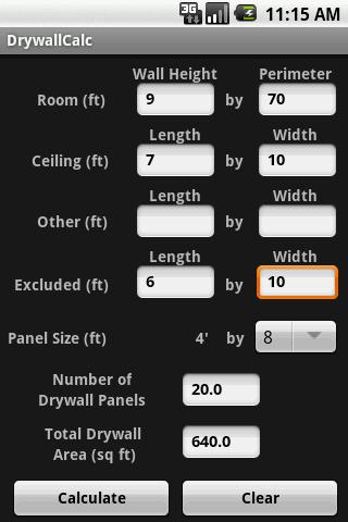 DrywallCalc- screenshot