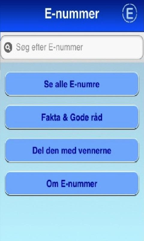 E nummer & Fødevare Guide - screenshot
