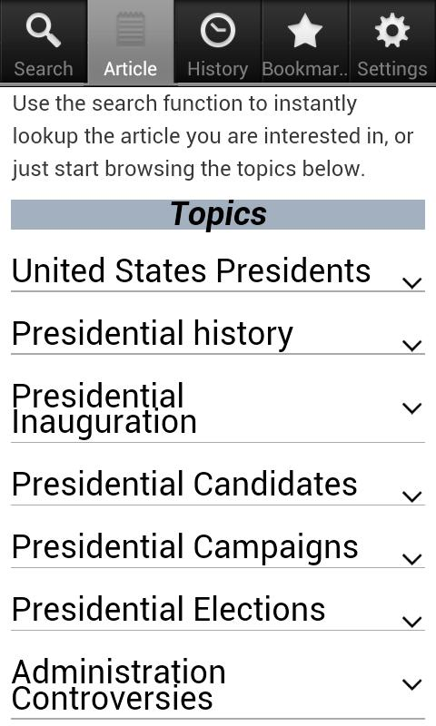 Presidential Elections Facts- screenshot
