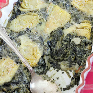 Cheesy Baked Artichokes and Spinach.