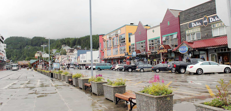 Downtown Ketchikan, Alaska, on a typically soggy day.