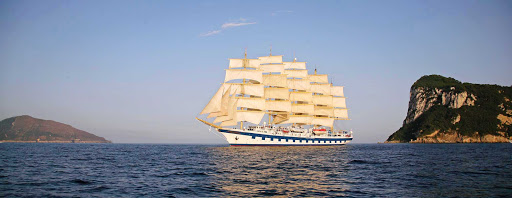 Royal-Clipper-in-Capri-Italy -   Royal Clipper, the world's only five-masted full-rigged sailing cruise ship, in Capri, Italy.