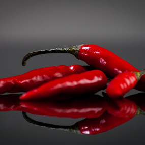 Hot Peppers by Hiram Christian - Food & Drink Fruits & Vegetables ( peppers, macro, red, hot, yum, chilli,  )