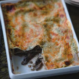 Portobello Lasagna with Basil Cream.