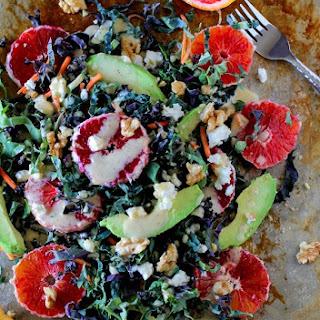 Kale Salad with Blood Orange, Avocado, and Kombucha Vinaigrette