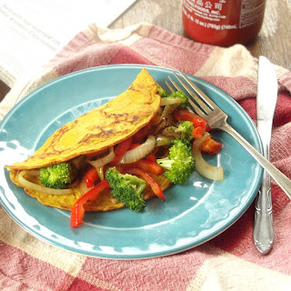 Veggie Stuffed Vegan Omelet