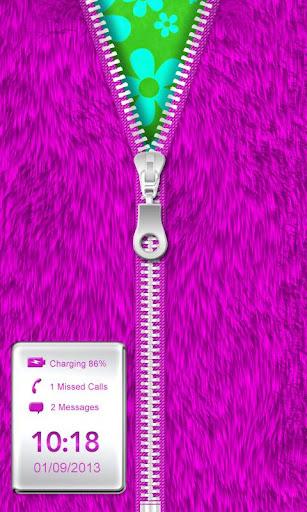 Purple Fur Zipper Lock Screen