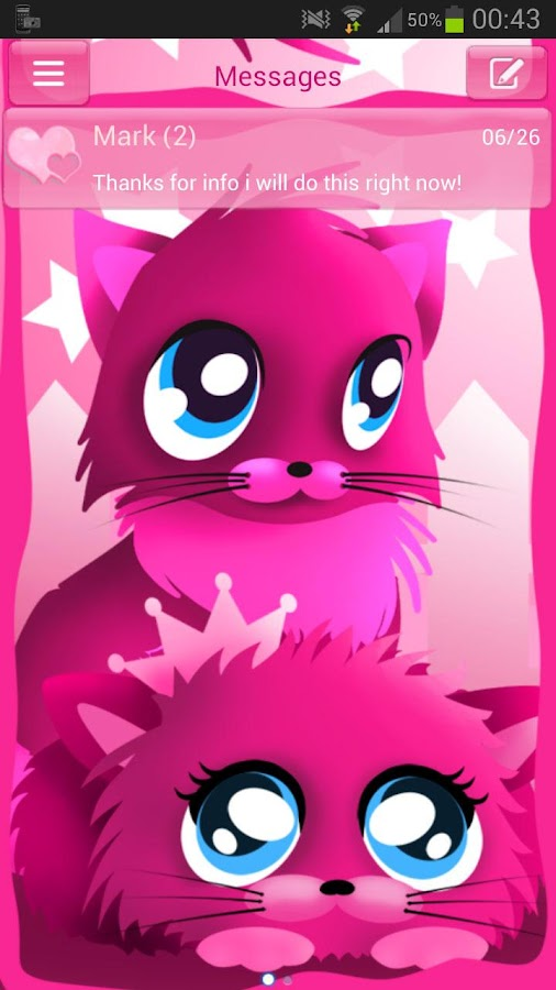 Pink cats theme 4 GO SMS Pro- screenshot