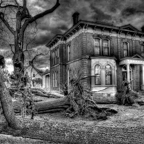 After The Storm by Richard Saxon - Buildings & Architecture Decaying & Abandoned ( storm damage, nature, mansion, destruction, trees, storm, stormy, weather )