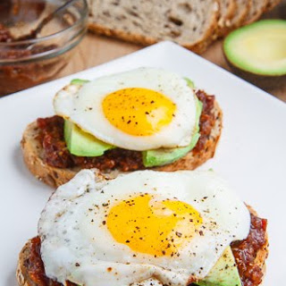 Bacon Jam Breakfast Sandwich with Fried Egg and Avocado.