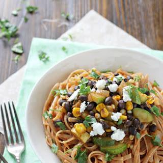 Vegetable and Black Bean Enchilada Pasta.